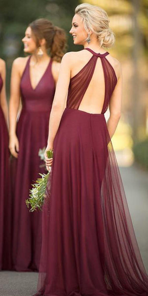 V-Neck Burgundy Tulle Long Bridesmaid Dress Custom Made Fashion Formal Dress Long A-Line Wedding Party Dress SBD002