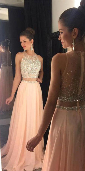 Sparkling Beaded Long Evening Gowns Fashion Long Chiffon Beadings Prom Dress Custom Made Long School Dance Dress Pagent Dresses for Girls SPD484