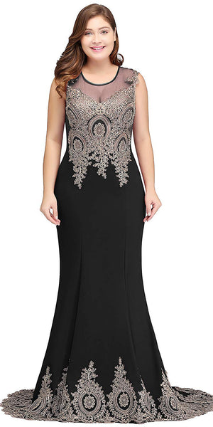 Black Long Mermaid Evening Gowns Fashion Plus Size Long Appliques Prom Dress Custom Made Long School Dance Dress Pagent Dresses for Girls SPD485