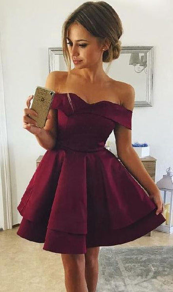 7f882d125d ... Sweetheart Burgundy Short Homecoming Dress with Off Shoulder Straps Cute  Girls Cocktail Party Gowns Short Satin ...