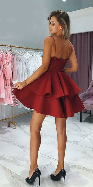 a8fbe6db358 Burgundy Spaghetti Straps Short Homecoming Dress Cute Girls Cocktail Party  Gowns Short Satin Lace School Dance Dresses Sweet 16th Dresses SHD068