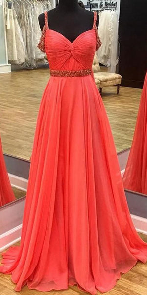 Sweetheart Long Evening Gowns Fashion Long Chiffon Prom Dress with Beaded Straps Custom Made Long School Dance Dress Pagent Dresses for Girls SPD486