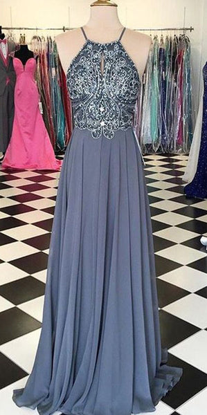 Sparkly Beaded Long Evening Gowns Fashion Long Chiffon Prom Dress with Spaghetti Straps Custom Made Long School Dance Dress Pagent Dresses for Girls SPD487