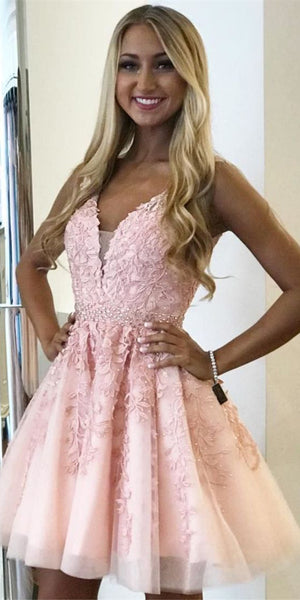 Short Pink Appliques Homecoming Dress Cute Girls Short Cocktail Party Dress Short School Dance Dresses SHD151