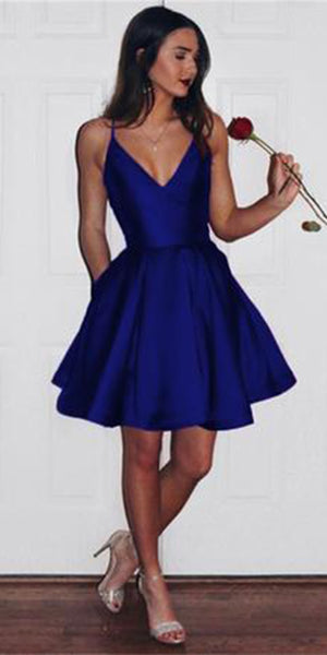 Simple V-Neck Short Homecoming Dress 2019 Cute Girls Cocktail Party Gowns Satin Royal Blue Short Prom Dresses Sweet 16th Dress SHD041