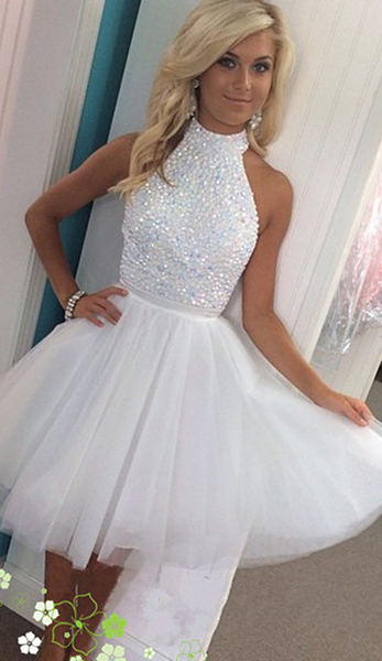 37b43ed8198 Mini High Neck Beads Homecoming Dress White Girls Keyhole Back Sequined Cocktail  Party Gowns Short 2019