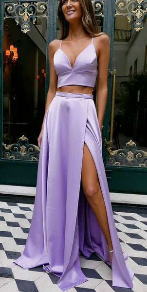 Simple Satin 2 Pieces Long Prom Dresses with Side Slit Fahion Long Lilac School Dance Dresses Custom Made Spaghetti Straps Graduation Party Dress SPD235