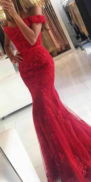 541a9fca1f9 Sweetheart Red Appliques Prom Dress with Off Shoulder Straps 2019 Custom  Made Long School Dance Dresses