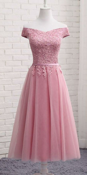e41d1689953 Cute Off Shoulder Pink Homecoming Dress Tulle Appliques Girls Cocktail  Party Gowns Short Graduation Party Dress Sweet 16th Dress SHD004