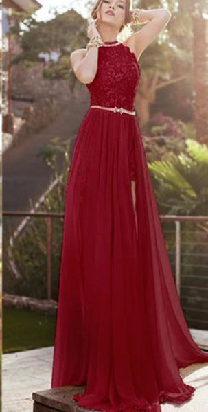 8f520d925e5 Women s High Neck Lace Evening Party Gown Burgundy Appliques Formal Prom  Dress Long 2019