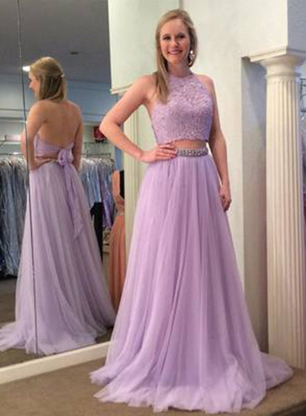 27e1ee81fe0d Women's 2 Pieces Halter Lace Evening Party Gown Lavender Beads Formal Prom  Dress Long 2019