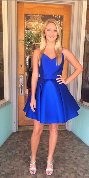 top-rated official good quality exceptional range of colors Simple Short Royal Blue Homecoming Dress Cute Girls Cocktail Party Dress  Simple Short Satin School Dance Dresses Short Prom Dresses SHD092