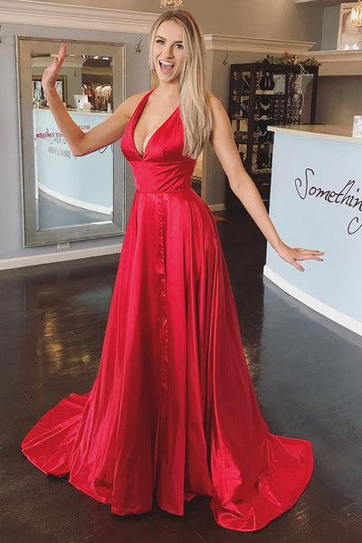 62c181905470 ... Simple Sexy Deep V-Neck Prom Dress Long with Side Slit Custom Made Red  Open ...
