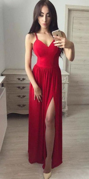 c55fac7b96da Simple Sexy Red Prom Dresses with Side Slit Fahion Long School Dance Dresses  Custom Made Spaghetti