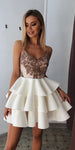 Beaded Spaghetti Straps Short Homecoming Dress Cute Girls Cocktail Party Gowns Satin Lace Short School Dance Dresses Sweet 16th Dresses SHD056