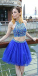 Sparkly Beaded Short 2 Pieces Royal Blue Homecoming Dress 2020 Cute Girls Party Dress Custom Made Short School Dance Dresses Sweet 16th Dress SHD245