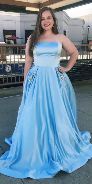 Strapless Long Plus Size Prom Dress with Beaded Pockets Fashion Long Blue School Dance Dresses Custom Made Long Evening Party Dress Women's Fashion Formal Dresses SPD412