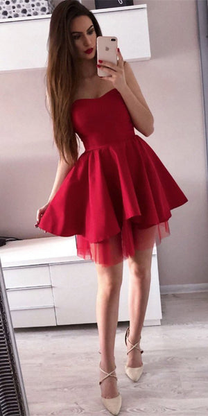 edaa7485bd Sweetheart Red Short Homecoming Dress Cute Girls Short Graduation Party  Dress Simple Short Satin and Tulle
