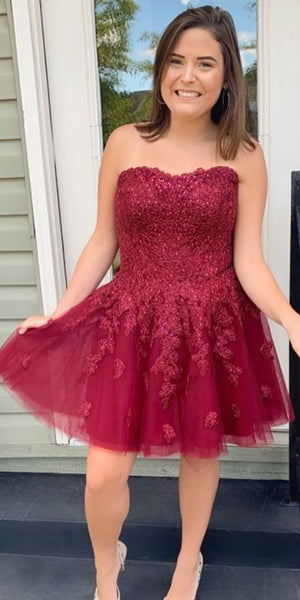 Strapless Short Tulle Appliques Plus Size Homecoming Dress Cute Girls Short Cocktail Party Dress Custom Made Short School Dance Dresses Sweet 16th Dress SHD184