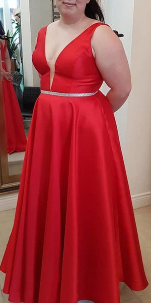 V-Neck Long Plus Size Prom Dress with Beaded Waist Fashion Long Red School Dance Dresses Custom Made Long Evening Party Dress Women's Fashion Formal Dresses SPD414