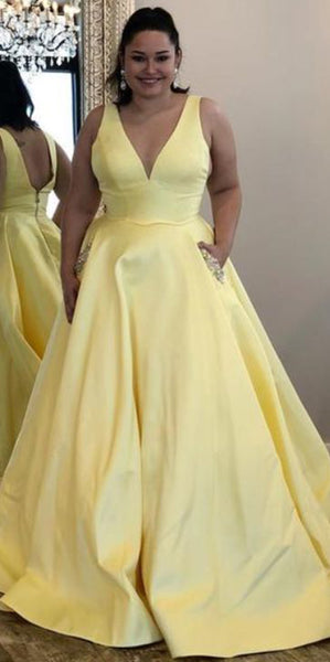 V-Neck Long Evening Party Gowns Plus Size Long Prom Dress with Beaded Pockets Custom Made Long School Dance Dress Pagent Dresses for Girls SPD452