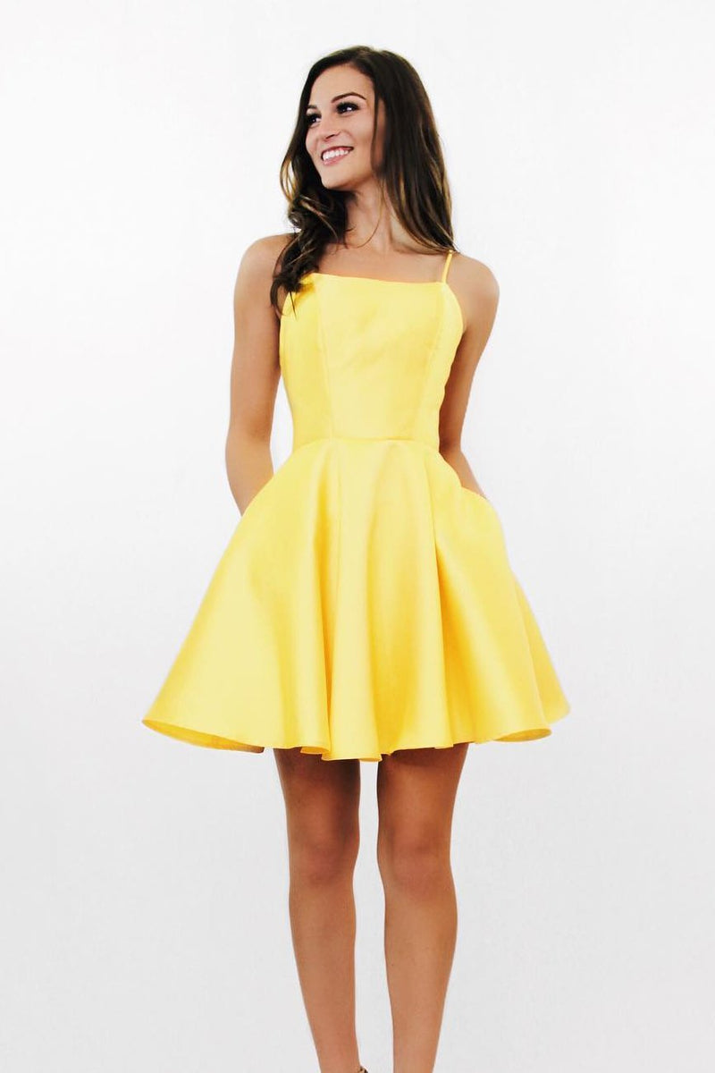 street price good reputation uk availability Simple Spaghetti Straps Short Homecoming Dress Cute Girls Cocktail Party  Dress Short Yellow Satin Backless School Dance Dresses Sweet 16th Dresses  ...