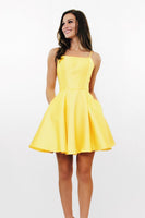 Simple Spaghetti Straps Short Homecoming Dress Cute Girls Cocktail Party Dress Short Yellow Satin Backless School Dance Dresses Sweet 16th Dresses SHD119