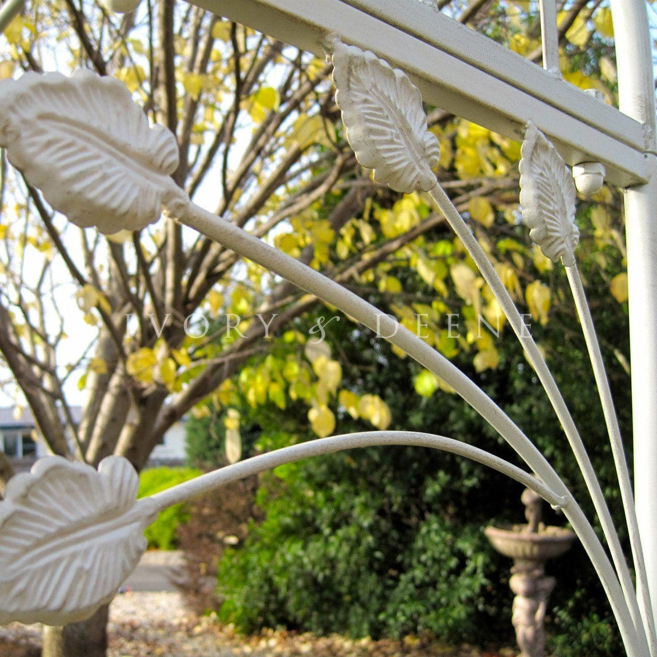 Large French Provincial Wrought Iron Garden Arch - Cream