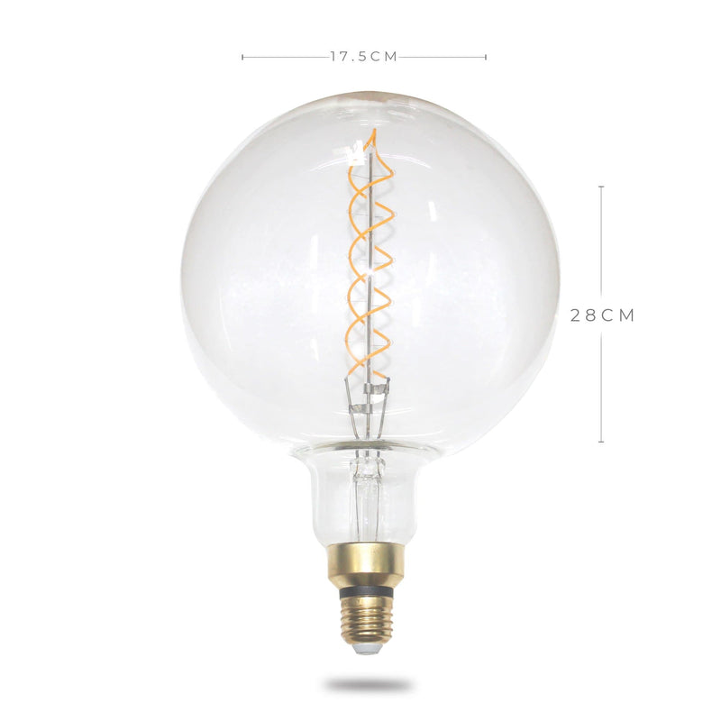 oversized filament globe 4w double spiral on a white background including size