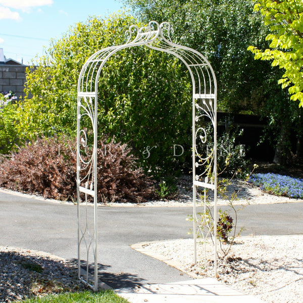 Large Cream French Provincial Wrought Iron Garden Arch