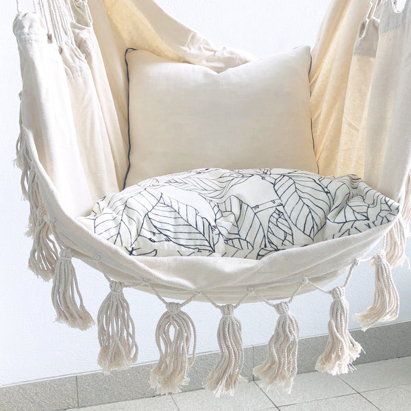 boho hanging hammock chair with cushions