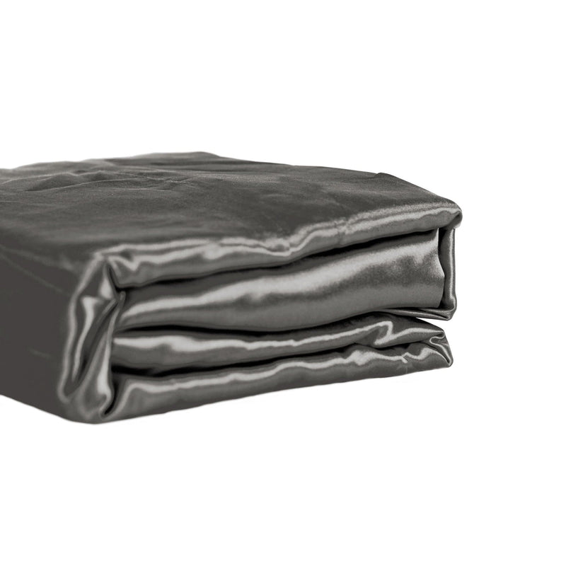 folded charcoal satin sheet set from Ivory & Deene