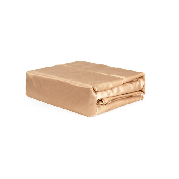 folded gold satin sheet set from Ivory & Deene