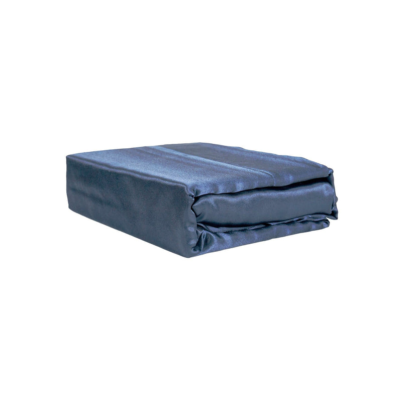 folded navy satin sheet set from Ivory & Deene
