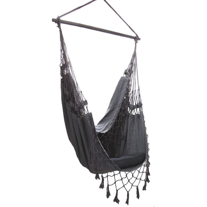 grey hanging hammock chair on a white background