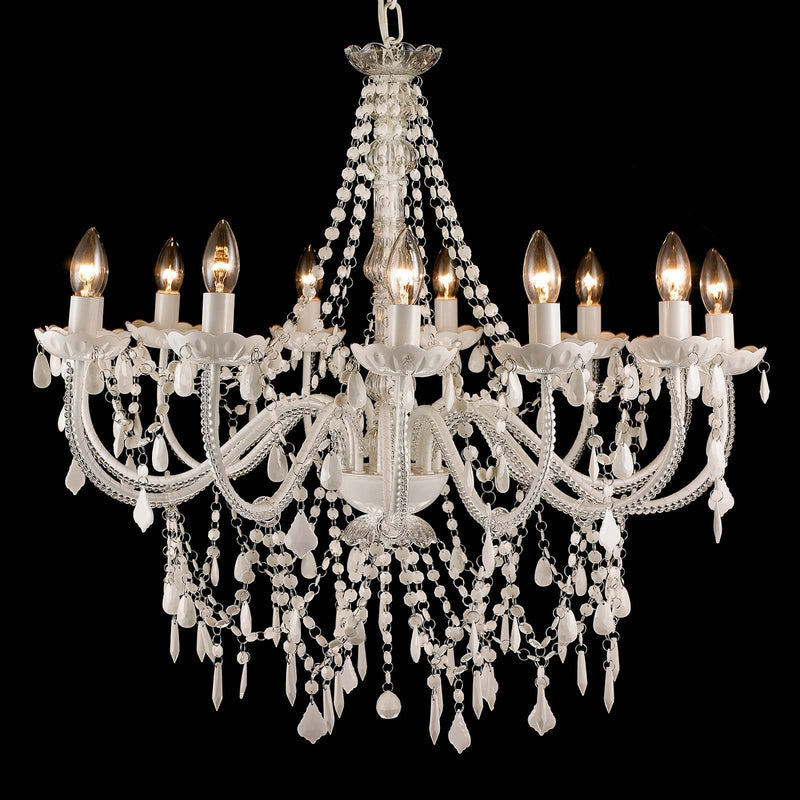 Large White French Provincial 12 Light Crystal Chandelier