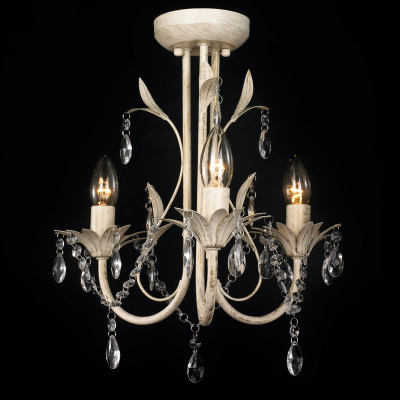 Glass Crystal French Provincial Chandelier 3 Light Pendant