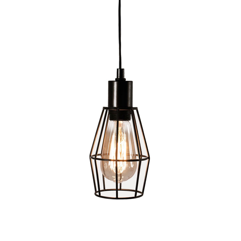 black wire pendant light on a white background