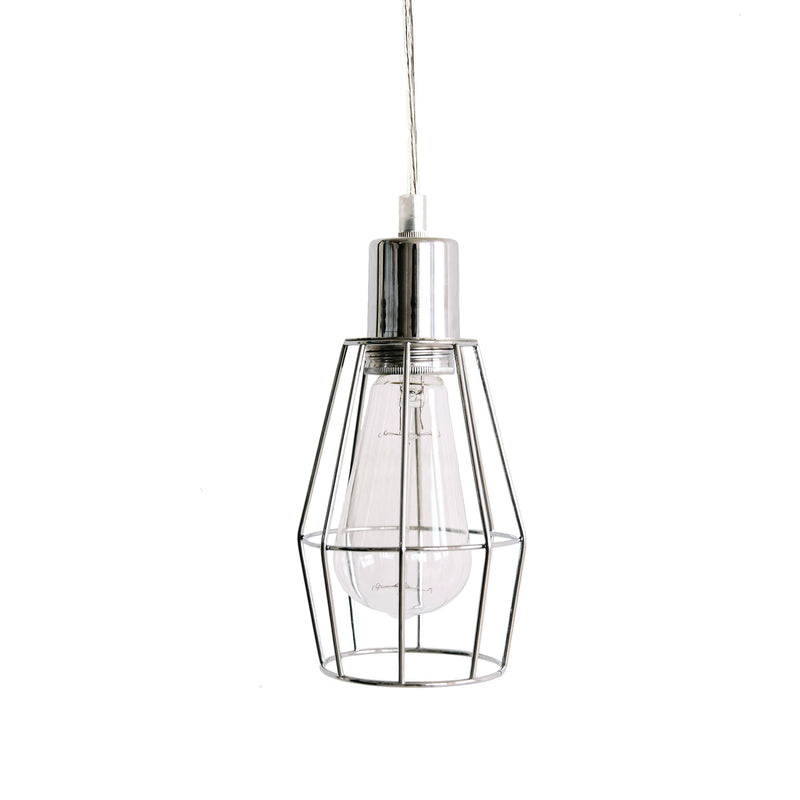 industrial chrome cage pendant light for kitchen  dining