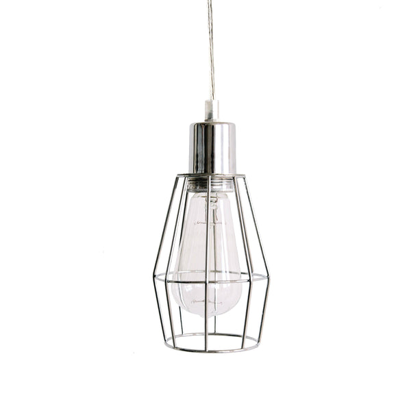 Industrial Chrome Cage Pendant Light for Kitchen, Dining