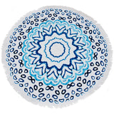 round beach towel thick lush cotton watercolour design on white background