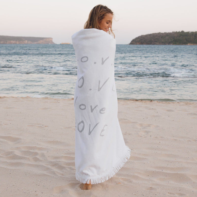 Organic Cotton Round Beach Towel - Love Always
