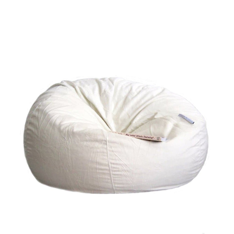 ivory fur beanbag on a white background