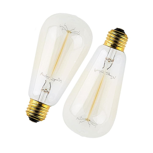 set of 2 fancy filament pear shaped edison globe or bulb with light off