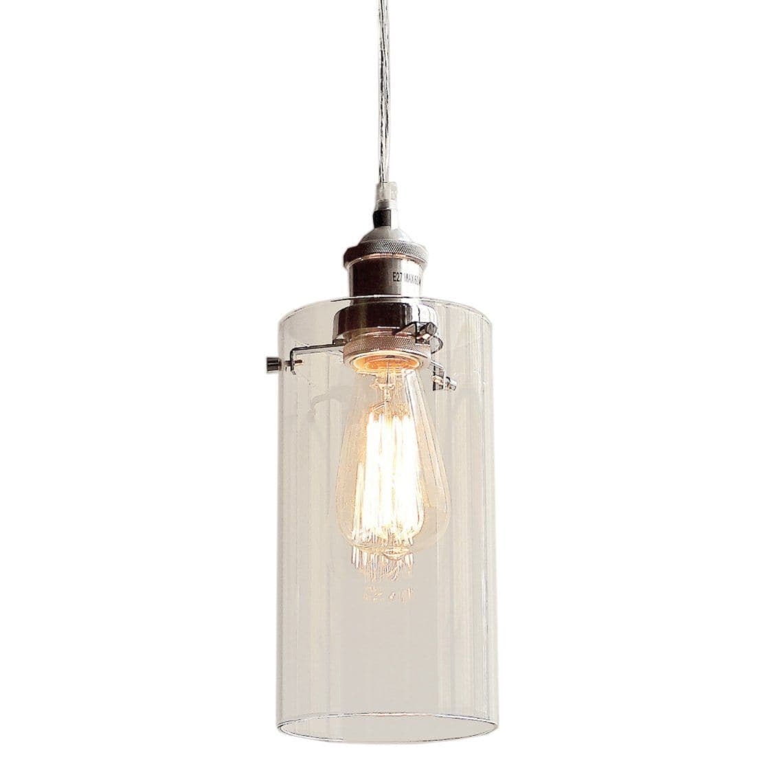 Glass allira pendant light fast shipping worldwide ivory deene allira glass pendant light in a cylinder style with chrome fittings on a white background aloadofball Gallery