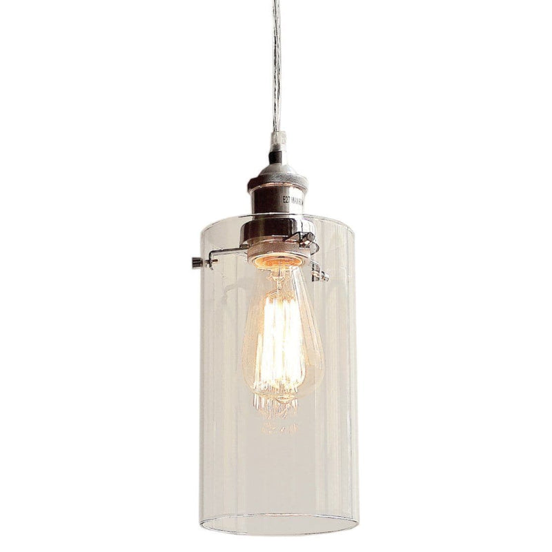 allira glass pendant light in a cylinder style with chrome fittings on a white background