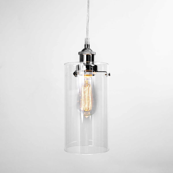 glass kitchen pendant light in a cylinder style with chrome fittings