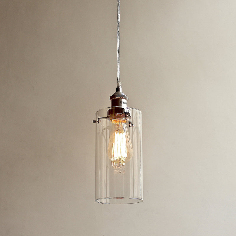 allira glass pendant light in a cylinder style with chrome fittings