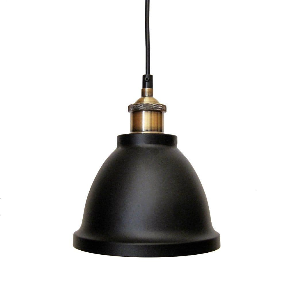black and brass dome pendant light for kitchen or bar