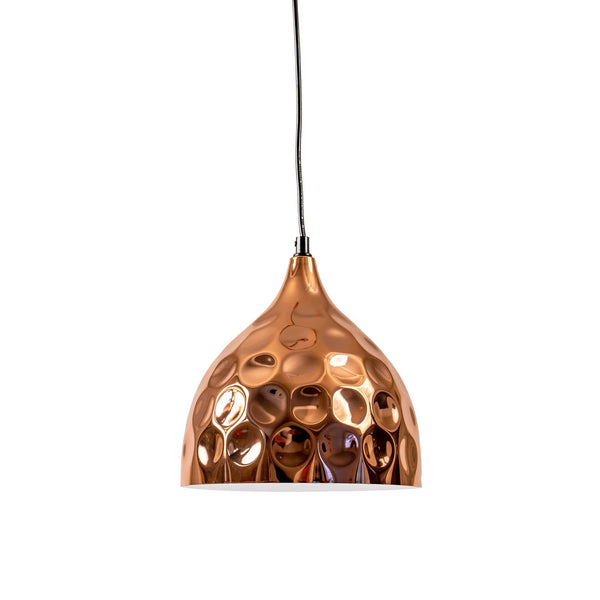 copper hammered dome pendant light with black cord